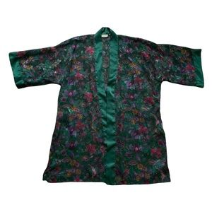 Vintage Gold Tag Victoria's Secret Silk Satin Style Floral Robe   One Size